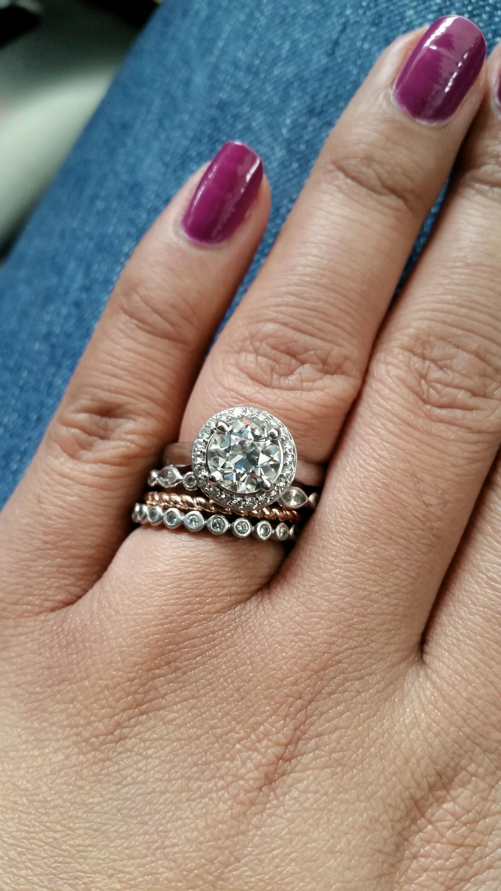 Unique Stack Set With Halo Engagement Ring Stack Is The