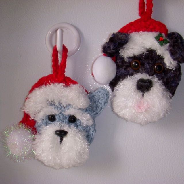 Crochet Christmas ornaments- dogs. My own design, no pattern