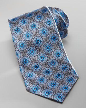 Ermenegildo Zegna Medallion Silk Tie, Gray/Blue - Bergdorf Goodman