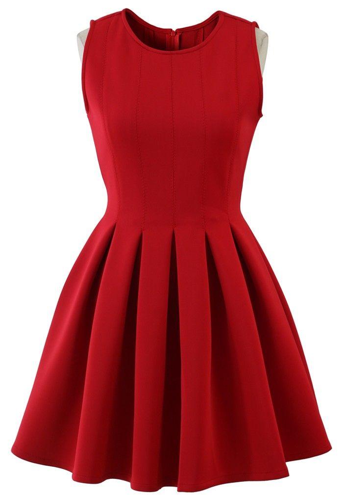 9318e6e1af35 Favored Sleeveless Skater Dress in Red