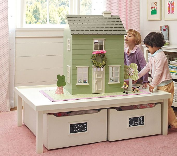 Love the idea of storage under the dollhouse!