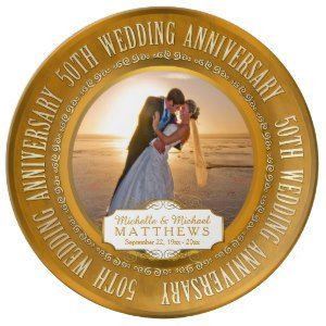 "50th Wedding Anniversary Photo Keepsake Porcelain Plates (<em data-recalc-dims=""1"">$54.95</em>)"