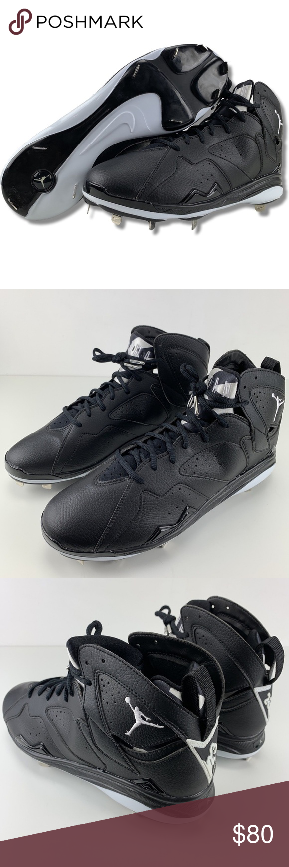 262a5d3a8c4 Nike Air Jordan Retro Baseball Cleats Nike Air Jordan Retro 7 VII Mens Size  13 Metal Baseball Pro Cleats Black White Brand New Cleats
