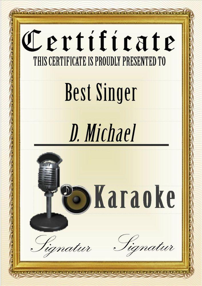 Karaoke Zertifikat - Karaoke Certificate - Attestato Karaoke - DIN ...