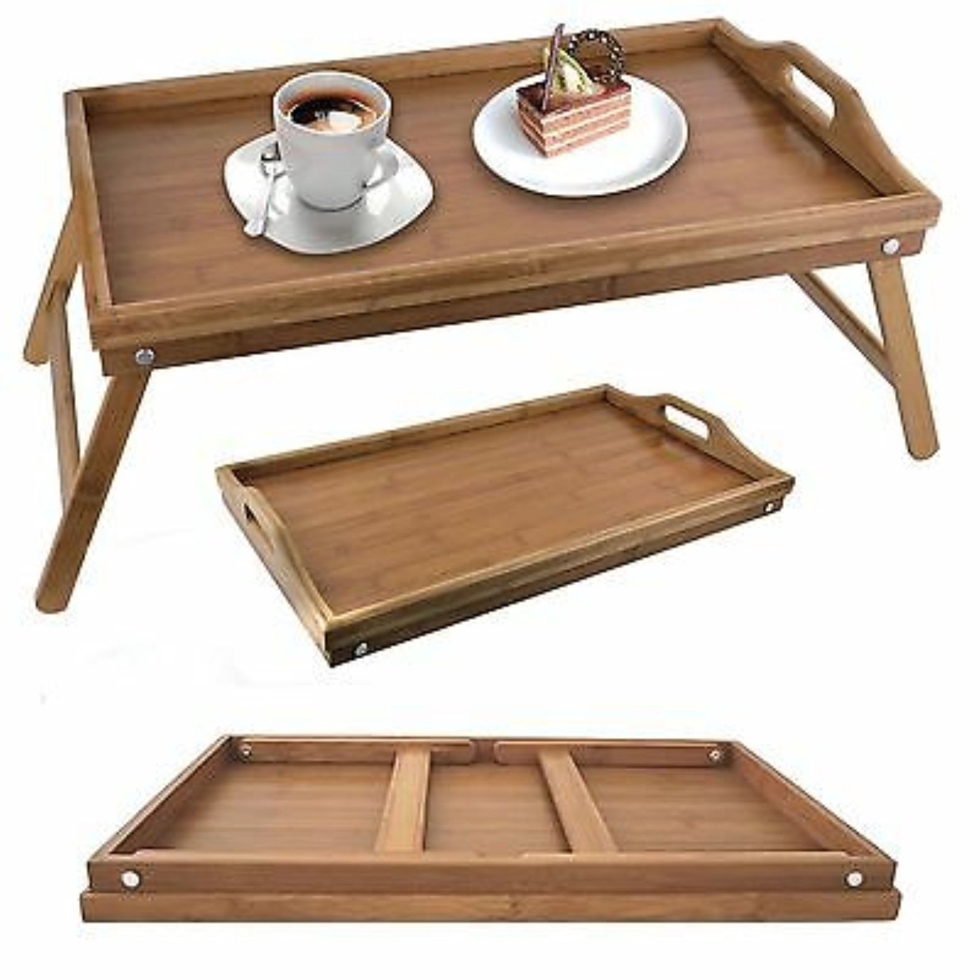 Folding Legs Equipped With Folding Legs Allowing You To Prop Up The Bamboo Serving Tray To Create A Stand Or Fold Down To Bed Tray Diy Bed Tray Table Bed Tray