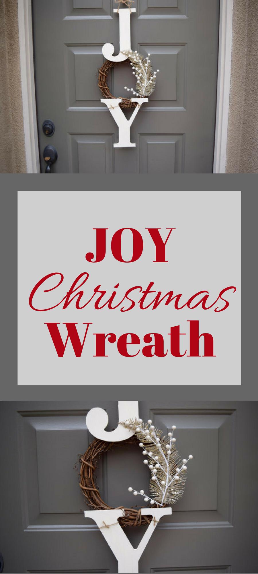 Joy Sign, Joy Wreath, Christmas Sign, Christmas Door Hanger