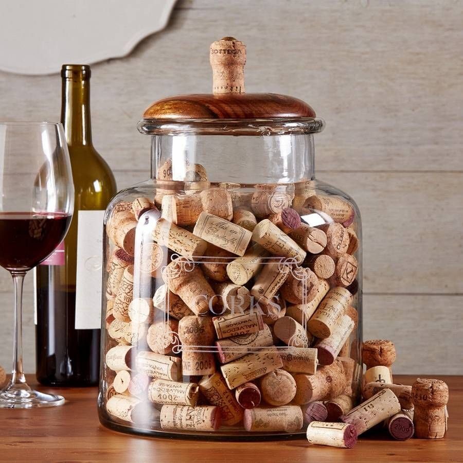 Large Decorative Glass Jars Large Glass Jar For Storing Corks With A Handsome Mango Wood Lid