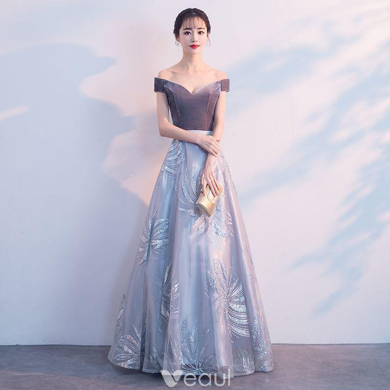 76a24876c492 Elegant Grey Prom Dresses 2019 A-Line   Princess Suede Off-The-Shoulder Lace  Short Sleeve Backless Floor-Length   Long Formal Dresses