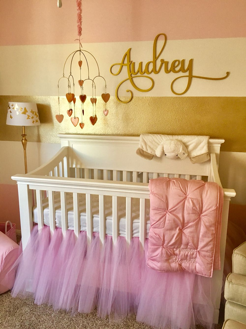 Baby girls pink and gold nursery #pink #gold #butterfly #hearts ...