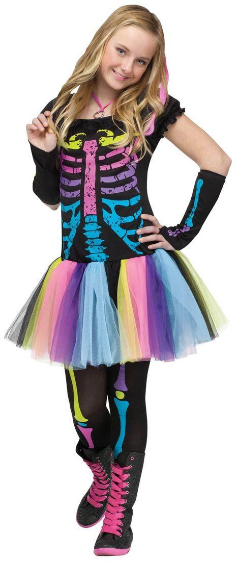 Funky Punky Skeleton Teen Girls Costume Halloween Costumes
