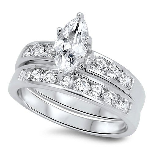CloseoutWarehouse Classic Marquise Solitaire Cubic Zirconia Ring Sterling Silver 925