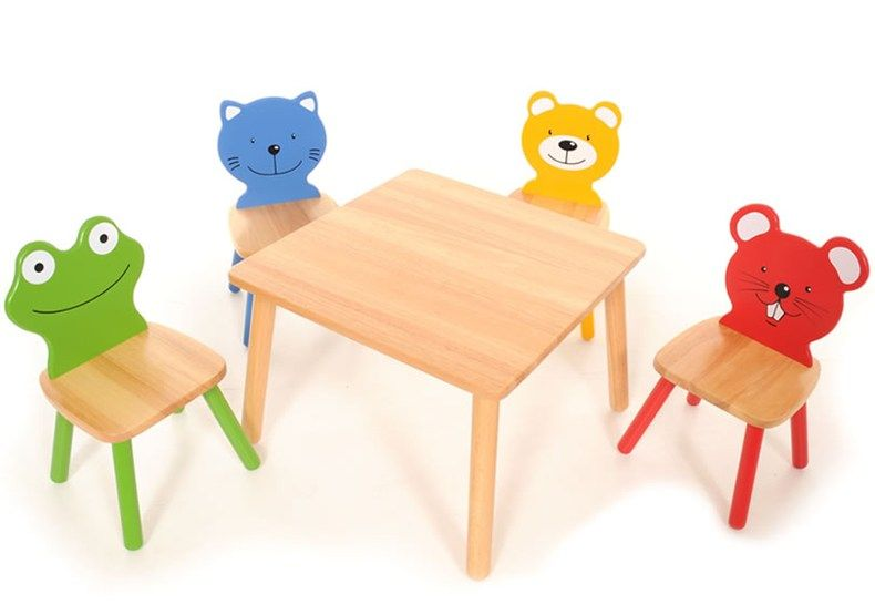 Pintoy Furniture Four Friends Table & Chairs Set with a Square Table ...