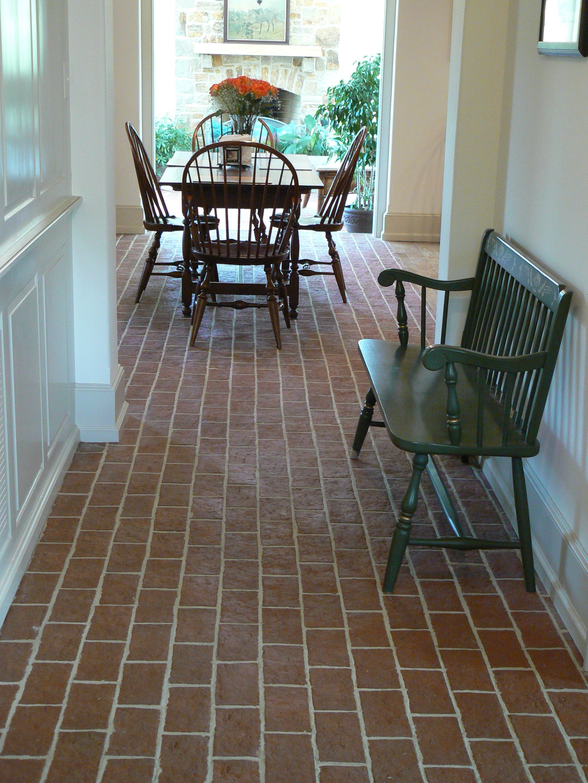 Hallway With Brick Floor Already Have Anyone Know The Best Way To Clean Indoor Brick Flooring I Read Borax Brick Tiles Thin Brick Tile Flooring