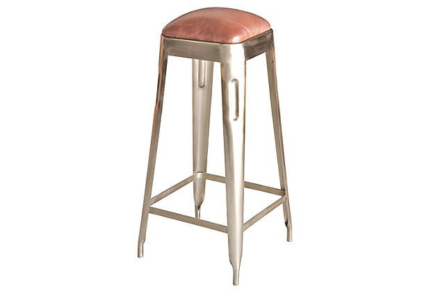 Alona Barstool The Nickel Finish And Tapered Legs Add A Distinctively Industrial Appeal To This Chic Bar Stools Leather Bar Stools Modern Bar Stools