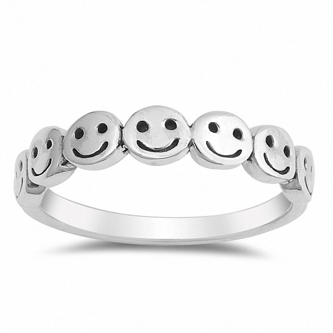 Circles Ring Genuine Sterling Silver 925 Oxidized Selectable Face Height 4 mm