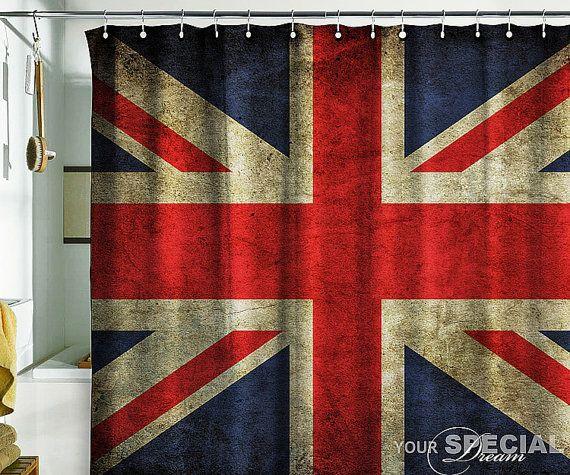 Shower Curtain British Flag UK Banner Great Britain England English London Grunge 71x71180x180cm