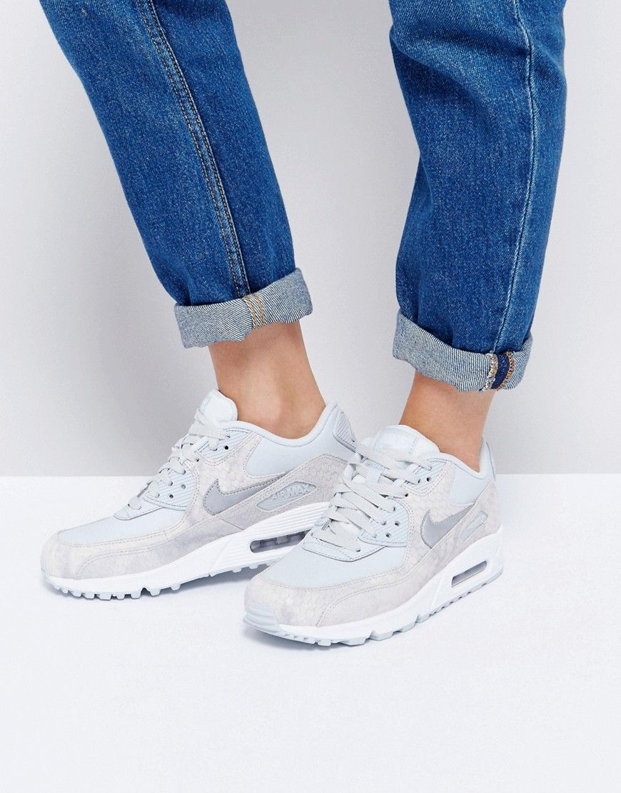 nike air max 90 premium trainers in grey faux snake