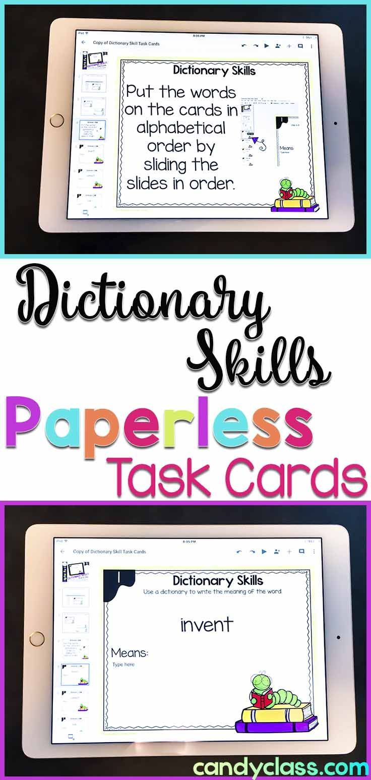 Students Can Practice Their Dictionary Skills With These Digital Task Cards These Can Be Used In Goog Dictionary Skills Google Classroom Vocabulary Activities [ 1547 x 736 Pixel ]