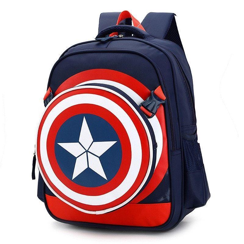 Boys Kids Superhero School Book Shoulder Bag Backpack America Captain Rucksack