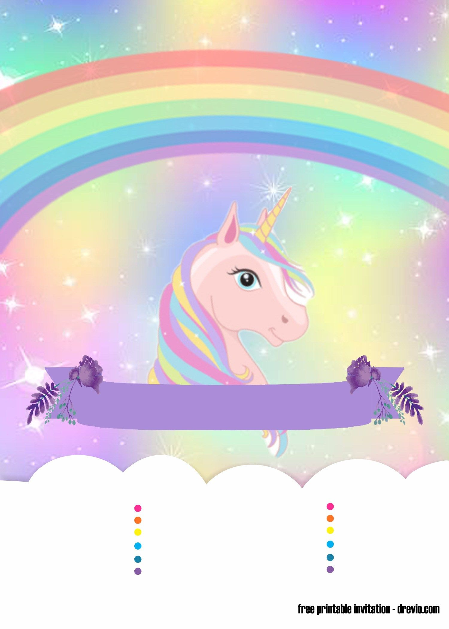 picture relating to Free Printable Unicorn Template identify Printable Unicorn Invitation Template Absolutely free - Floss Papers