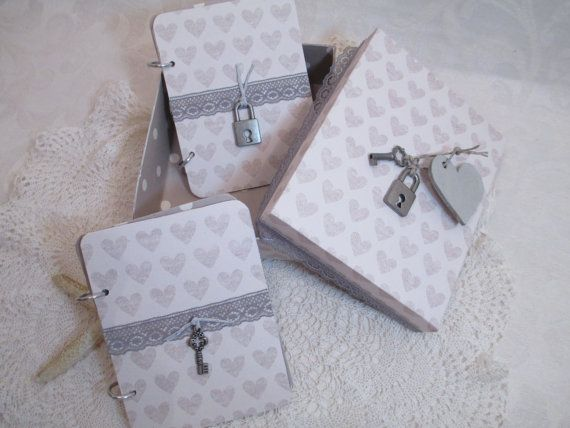 Wedding Vow Book Set  Gray Heart Wedding by TheMemoryKeeperShop