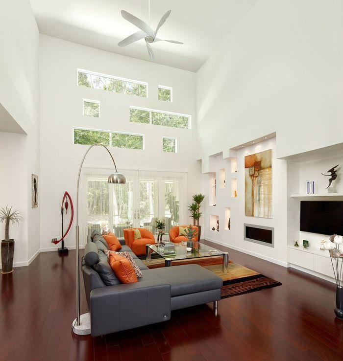 graues sofa orange dekokissen wohnideen wohnzimmer Loft - wohnzimmer orange schwarz