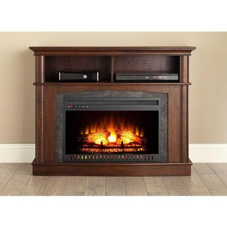 Whalen Media Fireplace Console, Rustic Brown - Walmart.com Want ...