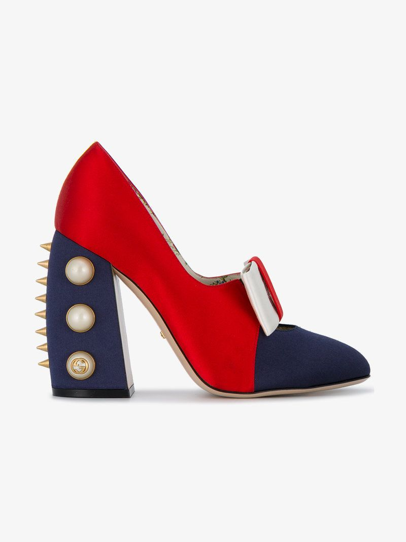 c59d31dd0685 GUCCI SATIN SPIKE AND PEARL EMBELLISHED 110 PUMPS.  gucci  shoes  pumps