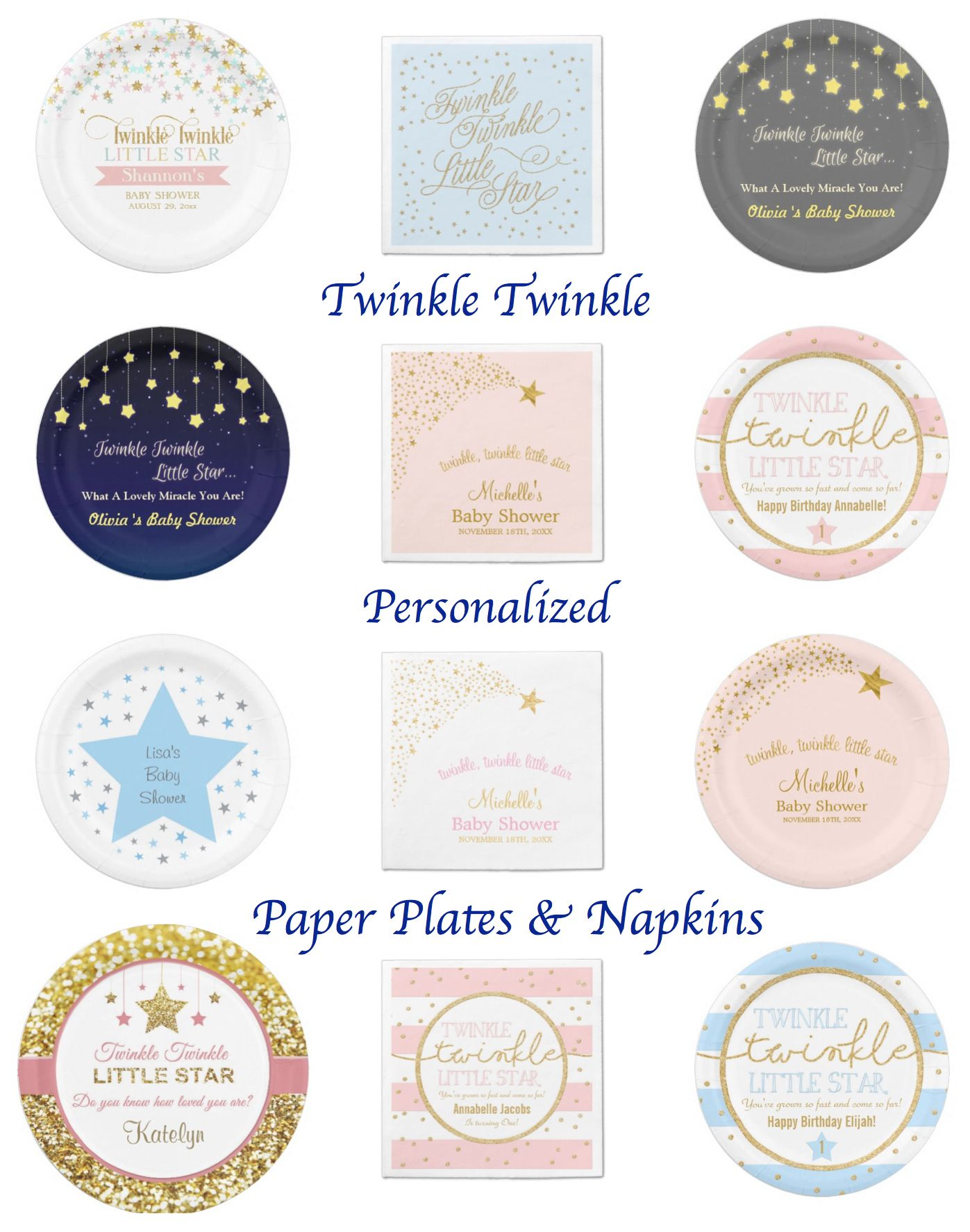 Birthdays · Twinkle Twinkle Personalized Paper Plates and Napkins  sc 1 st  Pinterest & Twinkle Twinkle Little Star Party Theme Planning Ideas \u0026 Supplies ...
