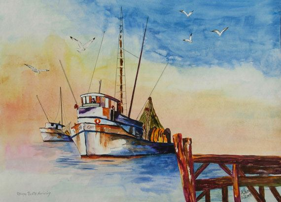 Sponge Boats Tarpon Springs Florida Original Watercolor Painting