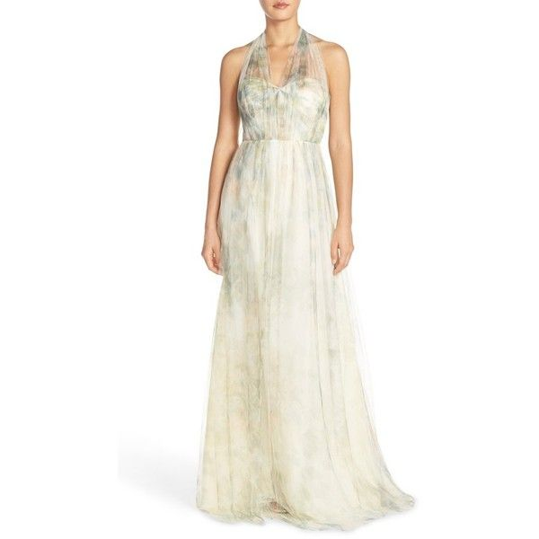 Women's Jenny Yoo 'Annabelle' Print Tulle Convertible Column Gown ($285) ❤ liked on Polyvore featuring dresses, gowns, ivory sage rose, white strapless gown, white dress, white evening dresses, white strapless dress and long evening dresses