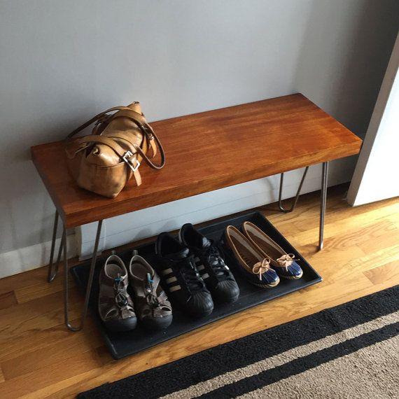 Hairpin leg bench   modern bench seating   small mid century ...