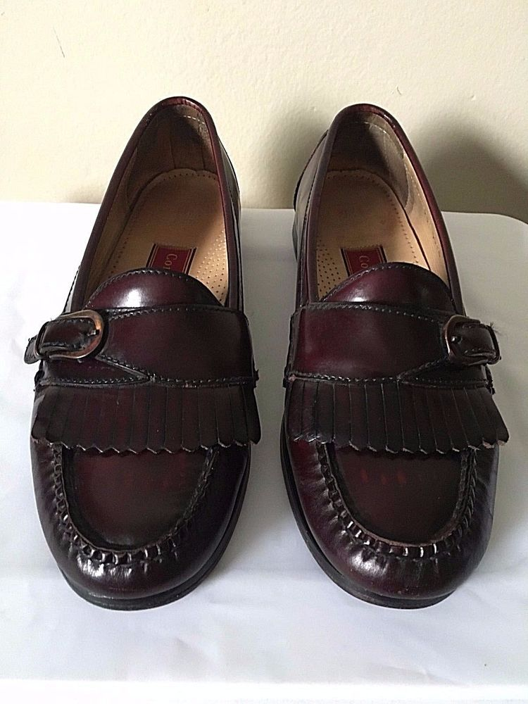 Vintage Cole Haan Shoes Size 8.5 Mens Burgundy Leather Buckle Kiltie Loafers