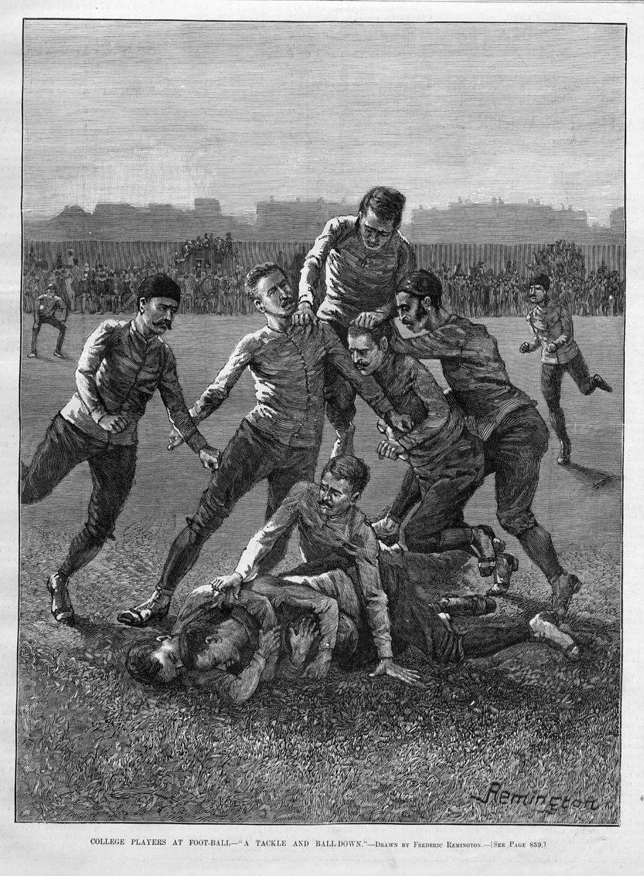 Frederic Remington, College Players at Football – A Tackle and Ball-down (Harper's Weekly, November, 1887)