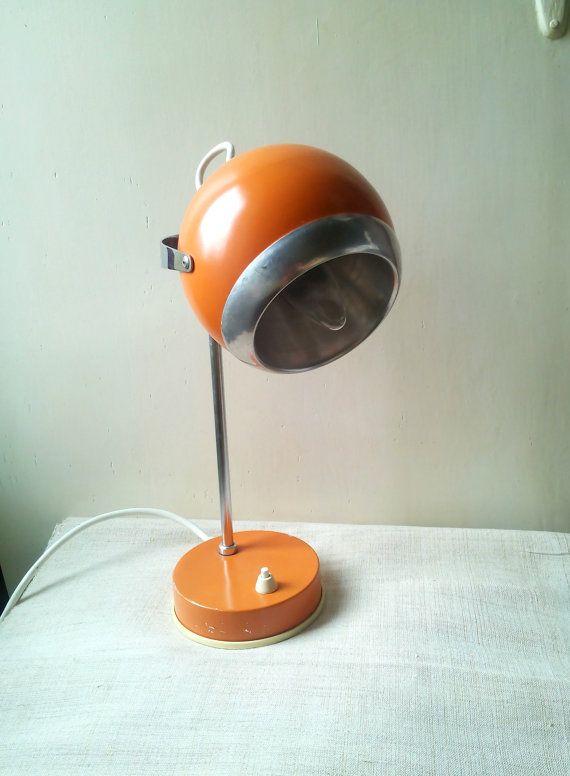 Retro Atomic Orange Desk Lamp Retro Office Unusual Lamp 70 S Desk Table Lamp Orange Desk Lamps Desk Lamp Lamp