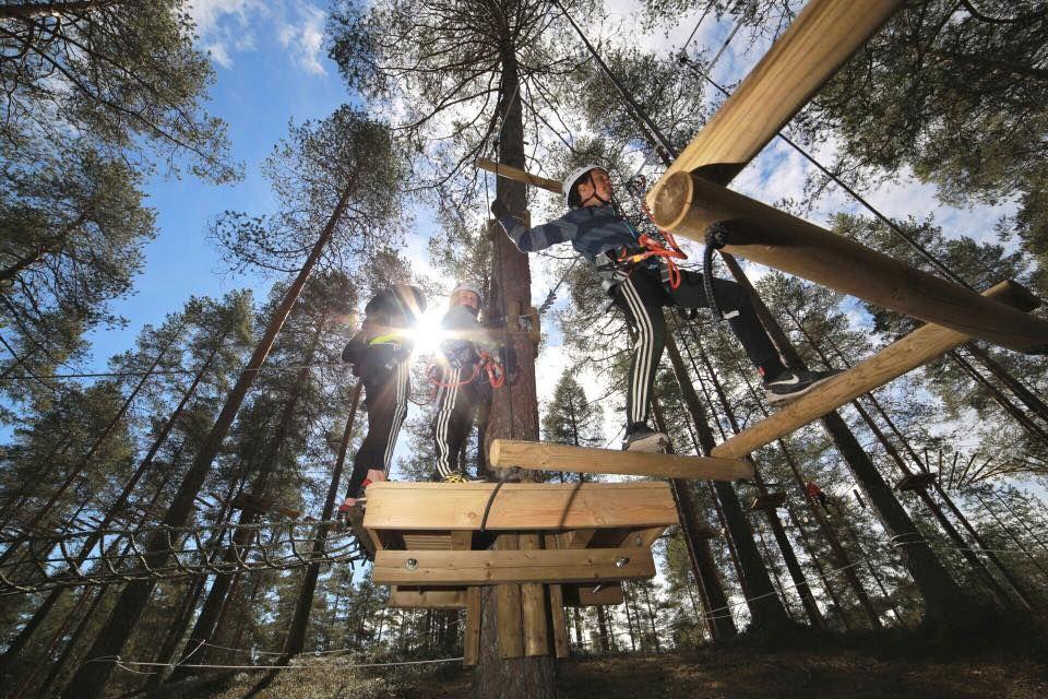 Seikkailun jatkuu huojuva silta. The adventure continues with a swaying bridge. Kuva: Antti Harju #vuokatinseikkailupuisto #vuokkati #seikkailupuisto #Suomi #Finland