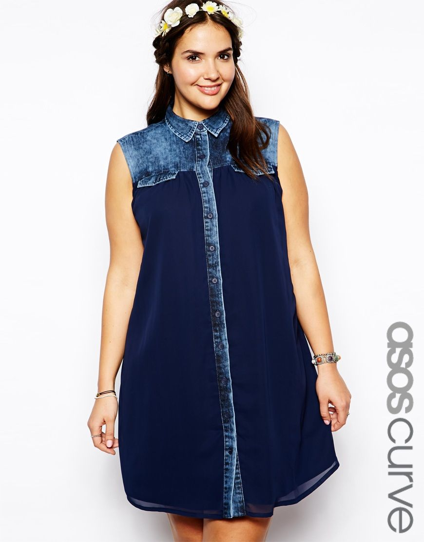 Exclusive Denim Adidas Top Ten 2000 Swaggy P Pes For: CURVE Exclusive Denim Swing Dress With Chiffon Panel