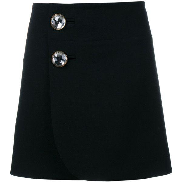 Marni Embellished Button Mini Skirt (8.045 NOK) ❤ liked on Polyvore featuring skirts, mini skirts, black wrap skirt, black miniskirt, wrap mini skirt, button skirt and short wrap skirt