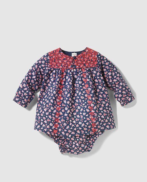 Vestido tipo body de bebé niña Brotes con estampado floral