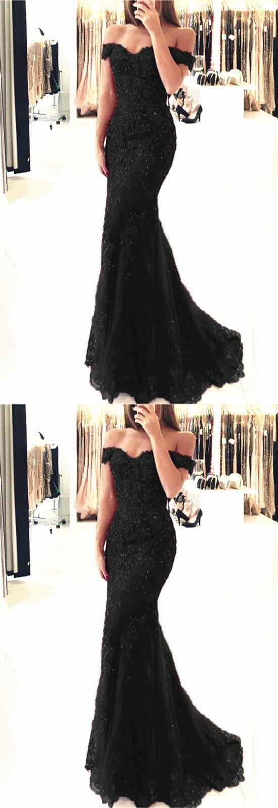Long black vneck prom dressesofftheshoulder mermaid prom