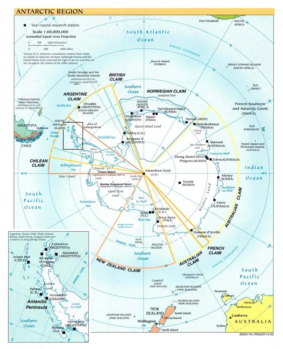 Another, more detailed map of Antarctica. | Antarctica | Antarctic ...