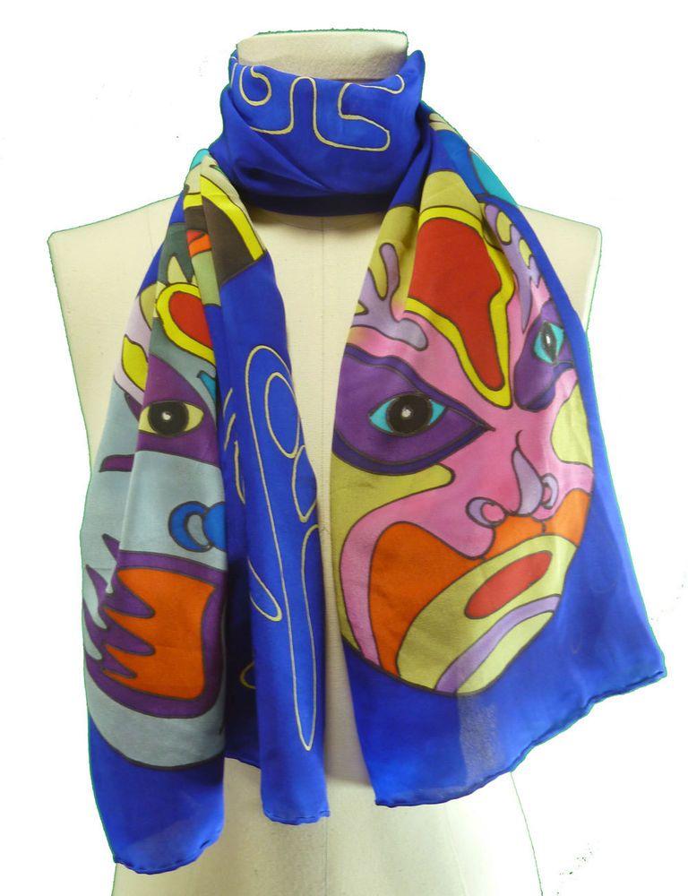 Cobalt Blue Japan Kabuki Actor Mask Face Long Silk Scarf Wearable Art #MrChenZhiGuang #Scarf