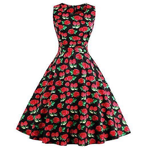 Là Vestmon Damen Retro Stil Vintage Rockabilly Schwingen Kleid ...