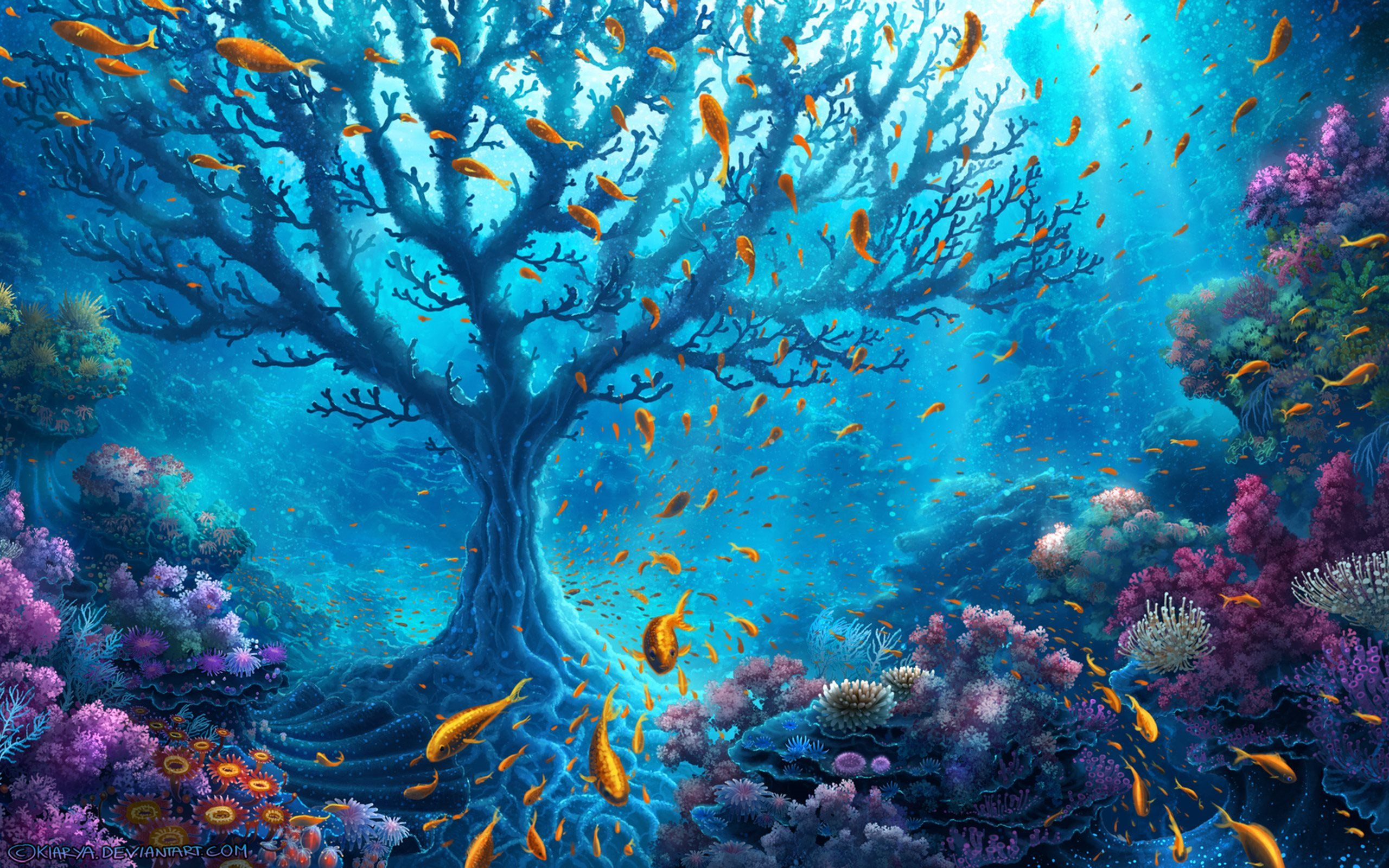 Download Wallpapers Underwater Coral Reef Fish Tree Ocean For Desktop With Resolution 2560x Underwater Wallpaper Underwater Painting Fantasy Art Landscapes