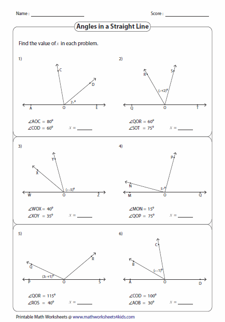 Angles And Algebra Angles Worksheet Angles Math Math Exercises