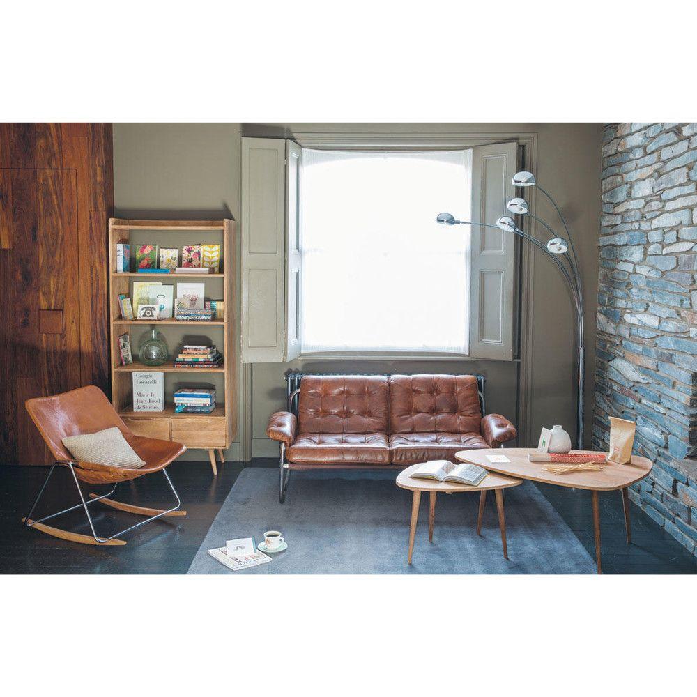 Banquette vintage 2 places en cuir marron mid century - Petite table maison du monde ...
