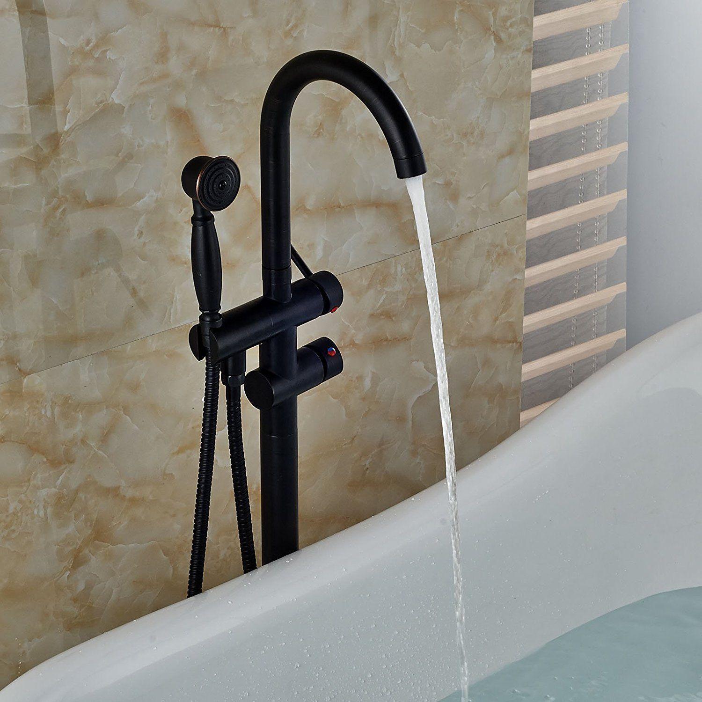Free Standing Bathroom Tub Filler Faucet Hand Shower Oil