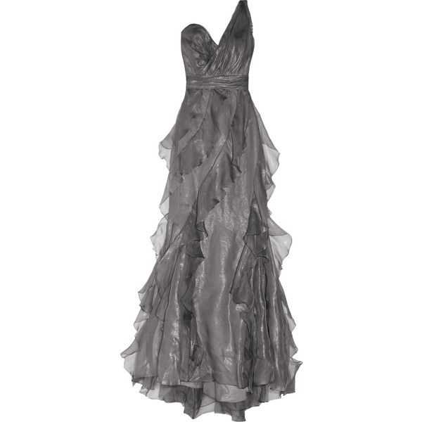 Badgley Mischka One-shoulder silk-organza gown ($395) ❤ liked on ...