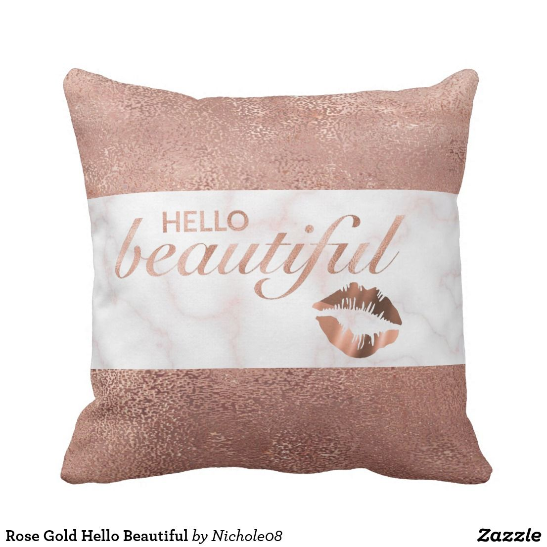 Hello Beautiful Watercolor 16 X 16 Throw Pillow Zazzle Com
