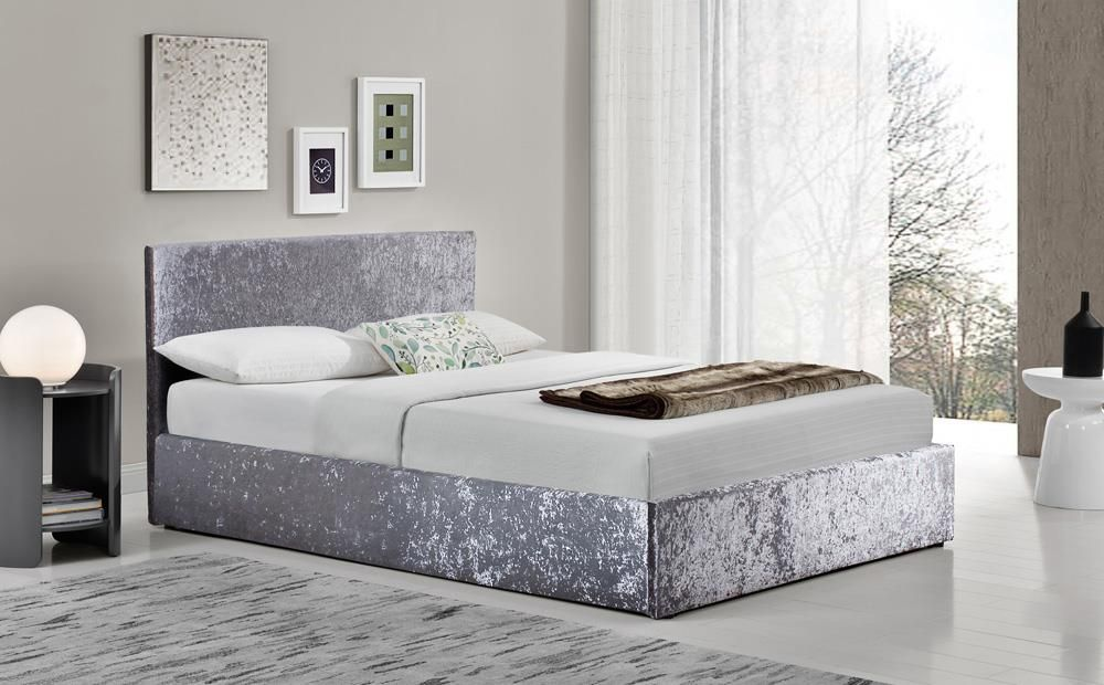 Berlin Silver Crushed Velvet Ottoman Bed King Size In 2020